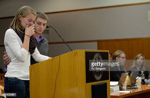 Beverly Sternberg and Nick Pesavento both cousins of Jessica Ridgeway address the court during Austin Sigg's sentencing hearing in a Jefferson County...