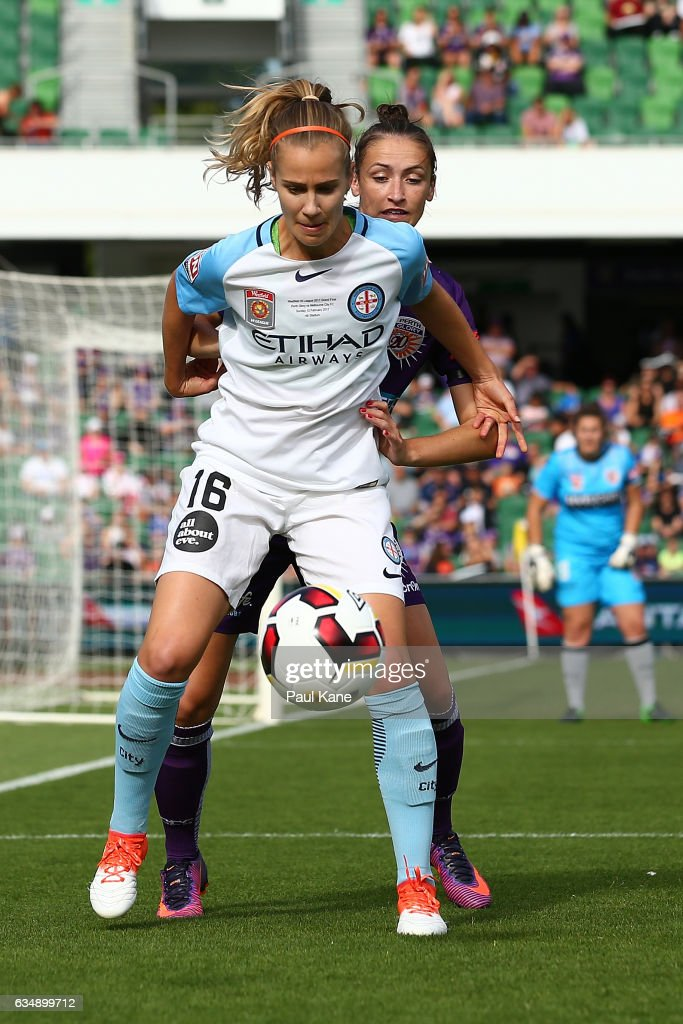 Beverly Yanez of Melbourne City and Sarah Carroll of the Perth Glory contest for the ball during the 2017 W-League Grand Final match between the Perth Glory and Melbourne City FC at nib Stadium on February 12, 2017 in Perth, Australia.