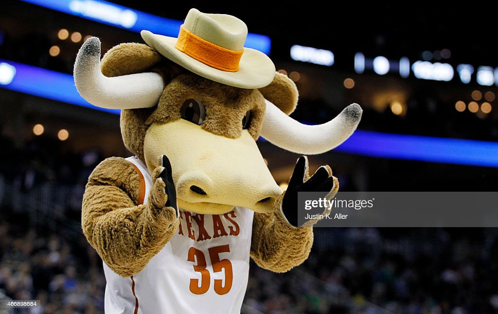Bevo mascot for the Texas Longhorns performs in the first half against the Butler Bulldogs during the second round of the 2015 NCAA Men's Basketball...