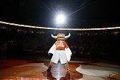 Bevo the Texas mascot performs before the game between the Texas Longhorns and the Kansas Jayhawks at the Frank Erwin Center on January 24 2015 in...