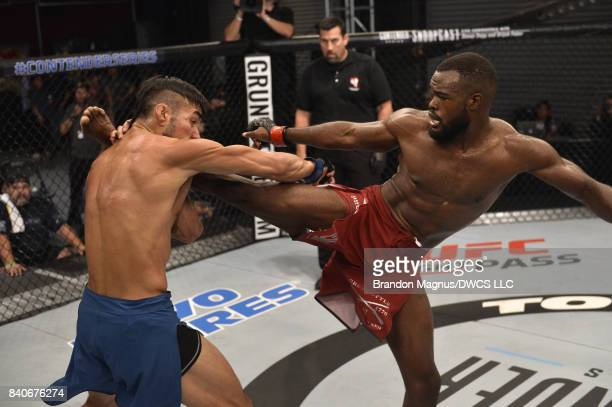 Bevon Lewis kicks Elias Urbina in their middleweight bout during Dana White's Tuesday Night Contender Series at the TUF Gym on August 29 2017 in Las...
