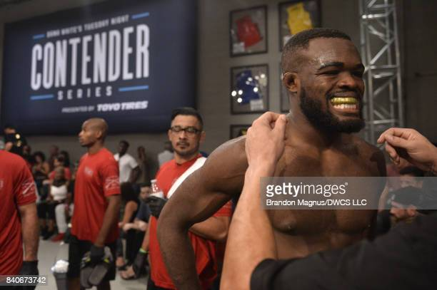 Bevon Lewis prepares to enter the Octagon prior to facing Elias Urbina in their middleweight bout during Dana White's Tuesday Night Contender Series...