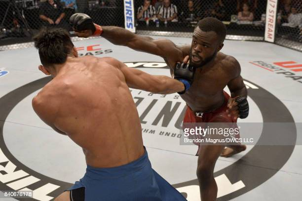 Bevon Lewis punches Elias Urbina in their middleweight bout during Dana White's Tuesday Night Contender Series at the TUF Gym on August 29 2017 in...