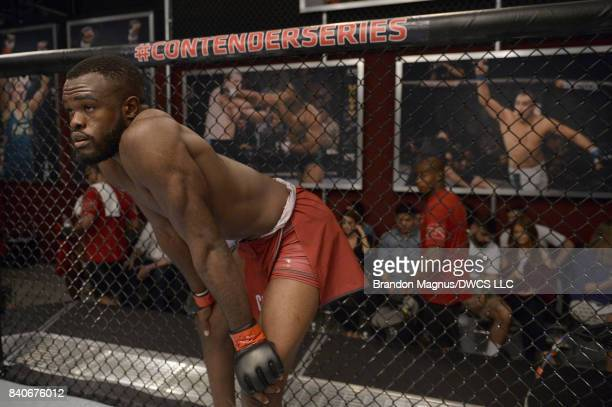 Bevon Lewis stands in his corner prior to facing Elias Urbina in their middleweight bout during Dana White's Tuesday Night Contender Series at the...
