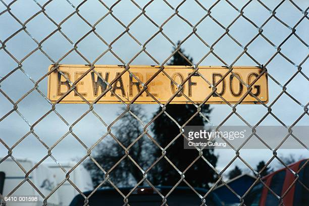 Beware of Dog Sign on Fence