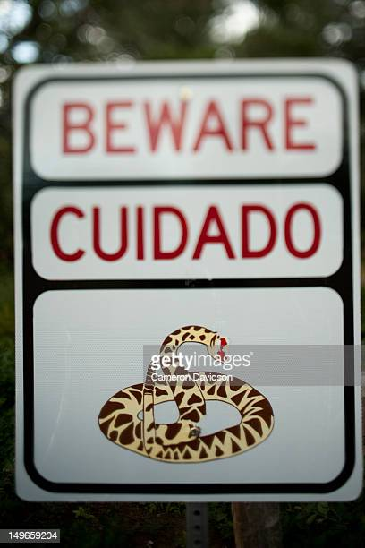 'Beware of rattle snakes' sign, New Mexico