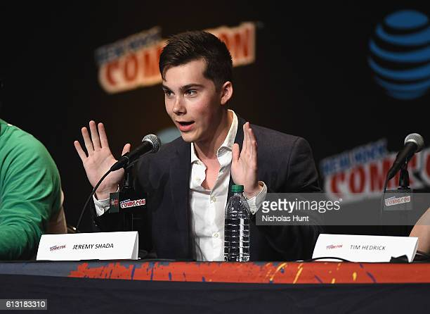Bex TaylorKlaus and Jeremy Shada speak onstage at at Jacob Javits Center on October 7 2016 in New York City