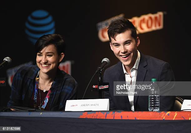 Bex TaylorKlaus and Jeremy Shada speak onstage at Voltron Legendary Defender Season 2 Sneak Peek at Jacob Javits Center on October 7 2016 in New York...