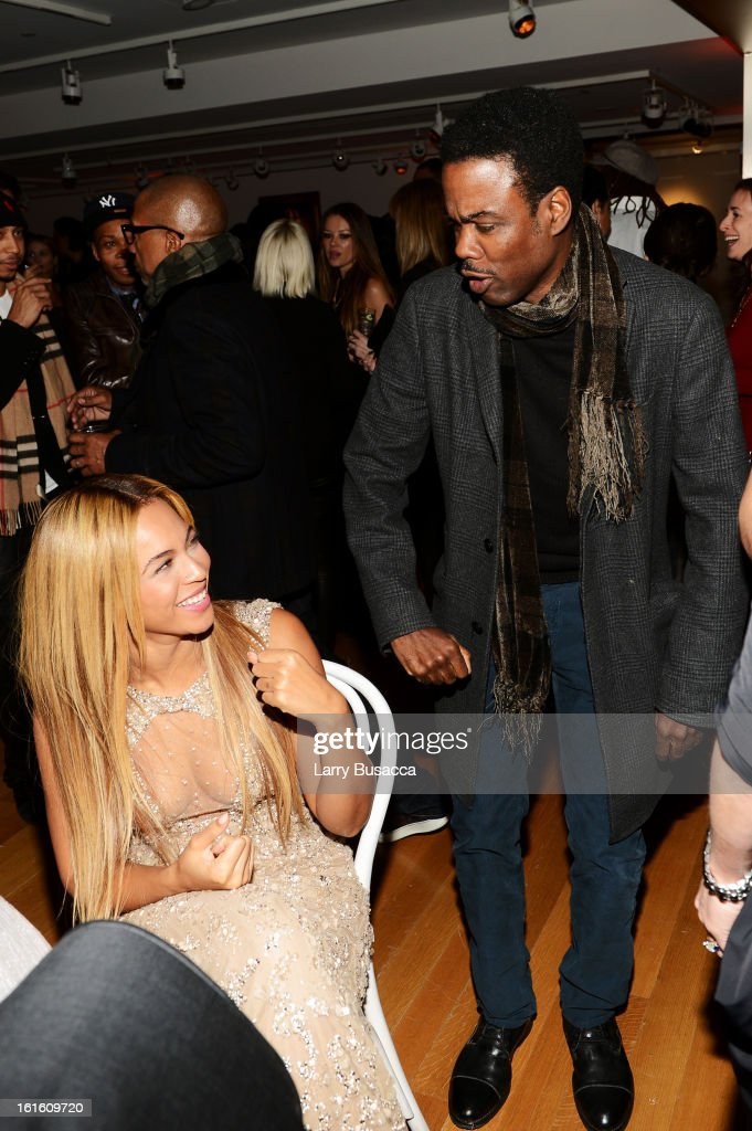 Beyonce and actor <a gi-track='captionPersonalityLinkClicked' href=/galleries/search?phrase=Chris+Rock&family=editorial&specificpeople=202982 ng-click='$event.stopPropagation()'>Chris Rock</a> attend the after party following the premiere of the HBO Documentary Film 'Beyonce: Life Is But A Dream' at Christie's on February 12, 2013 in New York City.