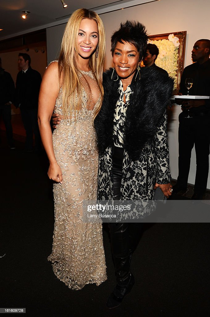 Beyonce and actress Angela Bassett attend the after party following the premiere of the HBO Documentary Film 'Beyonce: Life Is But A Dream' at Christie's on February 12, 2013 in New York City.