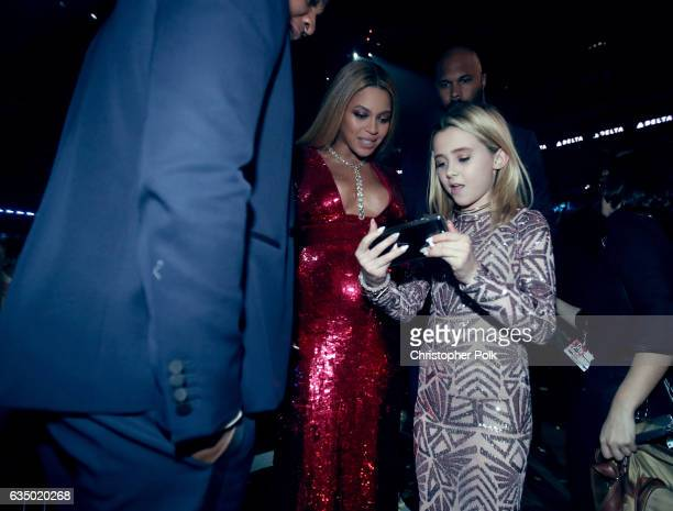 Beyonce and Alabama Barker during The 59th GRAMMY Awards at STAPLES Center on February 12 2017 in Los Angeles California