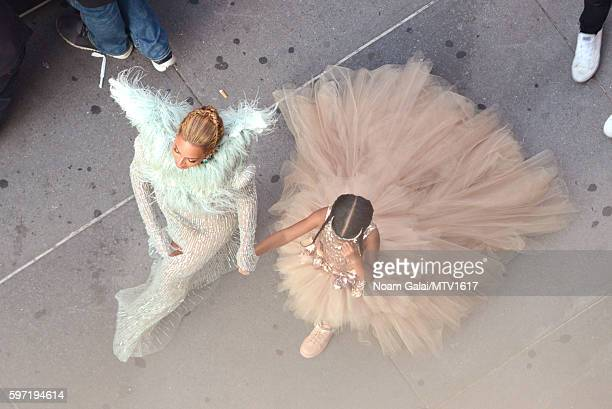 Beyonce and Blue Ivy Carter attend the 2016 MTV Video Music Awards on August 28 2016 in New York City