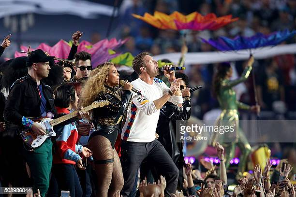 Beyonce and Chris Martin of Coldplay perform during the Pepsi Super Bowl 50 Halftime Show at Levi's Stadium on February 7 2016 in Santa Clara...