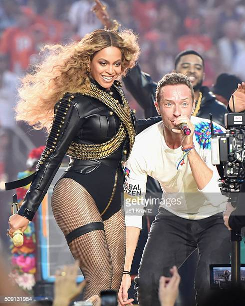 Beyonce and Chris Martin of Coldplay perform onstage during the Pepsi Super Bowl 50 Halftime Show at Levi's Stadium on February 7 2016 in Santa Clara...