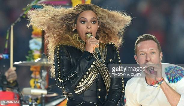 Beyonce and Chris Martin perform during Super Bowl 50 between the Carolina Panthers and the Denver Broncos at Levi's Stadium in Santa Clara...