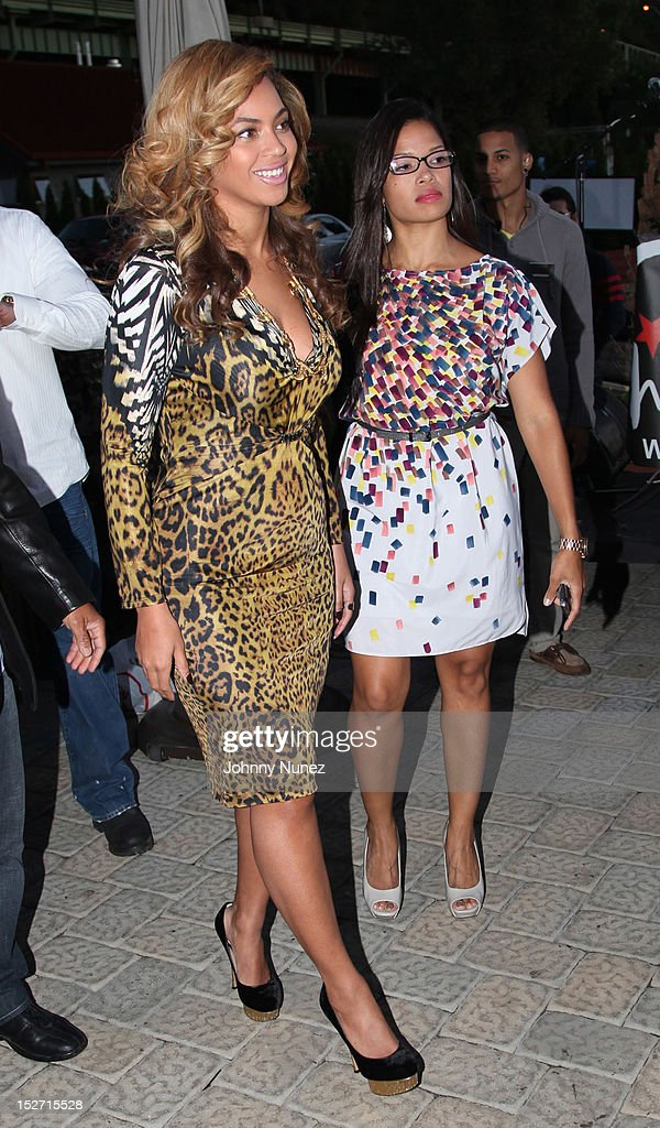 Beyonce and Elaine Hamilton attend the Jay-Z And Beyonce Summer Ends With D'USSE Cognac Cocktails Celebration at La Marina Restaurant Bar Beach Lounge on September 23, 2012 in New York City.