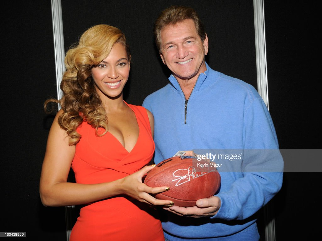 Beyonce and former NFL player <a gi-track='captionPersonalityLinkClicked' href=/galleries/search?phrase=Joe+Theismann&family=editorial&specificpeople=215194 ng-click='$event.stopPropagation()'>Joe Theismann</a> pose backstage at the Pepsi Super Bowl XLVII Halftime Show Press Conference at the Ernest N. Morial Convention Center on January 31, 2013 in New Orleans, Louisiana.
