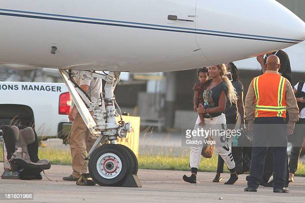 Beyonce and her daughter Blue Ivy sighting at Luis Munoz Marin Intl Airport on September 22 2013 in San Juan Puerto Rico
