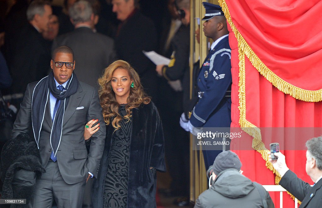 Beyonce and husband Jay-Z arrive for the 57th Presidential Inauguration ceremonial swearing-in of President Barack Obama at the US Capitol on January 21, 2013 in Washington, DC. The oath is to be administered by US Supreme Court Chief Justice John Roberts, Jr. AFP PHOTO/Jewel Samad