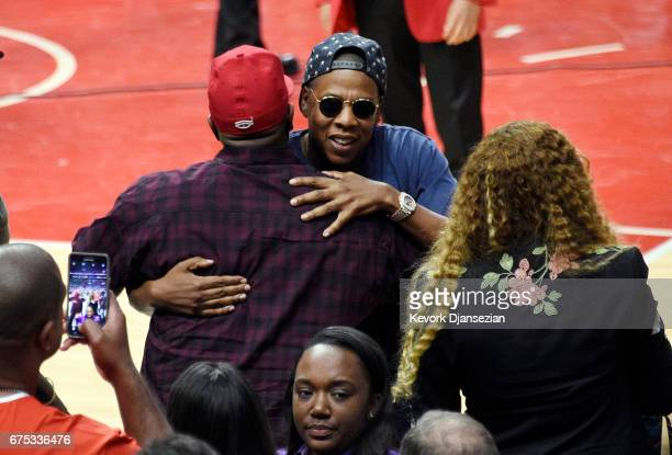 Beyonce and Jay Z after attendi Game Seven of the Western Conference Quarterfinals between the Los Angeles Clippers and the Utah Jazz at Staples...
