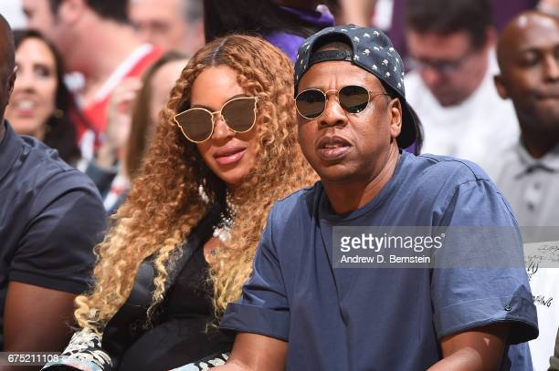 Beyonce and Jay Z attend Game Seven of the Western Conference Quarterfinals of the 2017 NBA Playoffs on April 30 2017 at STAPLES Center in Los...
