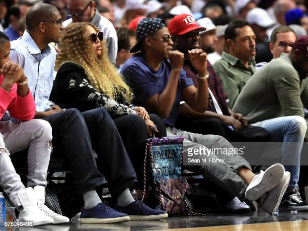 Beyonce and Jay Z attend Game Seven of the Western Conference Quarterfinals between the Los Angeles Clippers and the Utah Jazz at Staples Center at...
