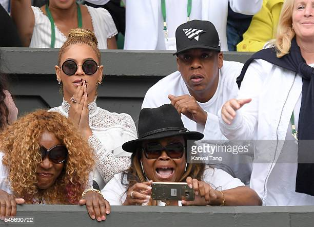 Beyonce and Jay Z attend the women's final of the Wimbledon Tennis Championships between Serena Williams and Angelique Kerber at Wimbledon on July 09...