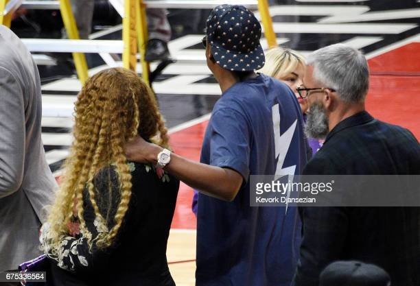 Beyonce and Jay Z leave after attending Game Seven of the Western Conference Quarterfinals between the Los Angeles Clippers and the Utah Jazz at...