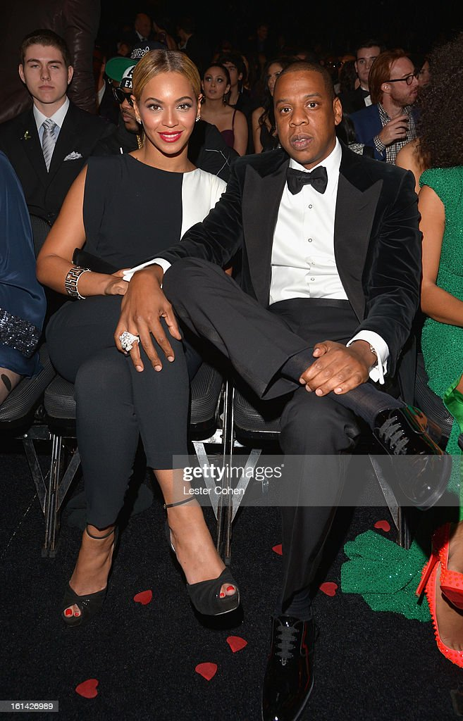 Beyonce and Jay-Z attend the 55th Annual GRAMMY Awards at STAPLES Center on February 10, 2013 in Los Angeles, California.