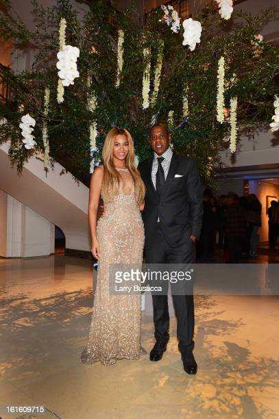 Beyonce and JayZ attend the after party following the premiere of the HBO Documentary Film 'Beyonce Life Is But A Dream' at Christie's on February 12...