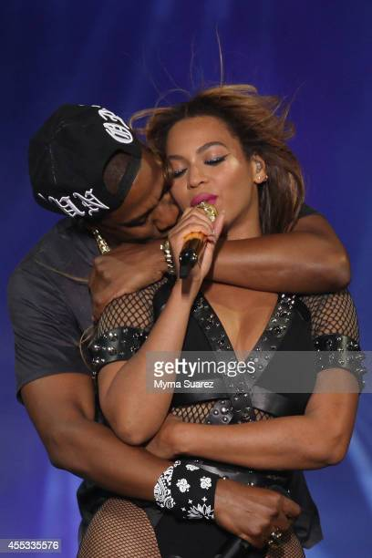 Beyonce and JayZ perform during the 'On The Run Tour Beyonce And JayZ' at the Stade de France on September 12 2014 in Paris France