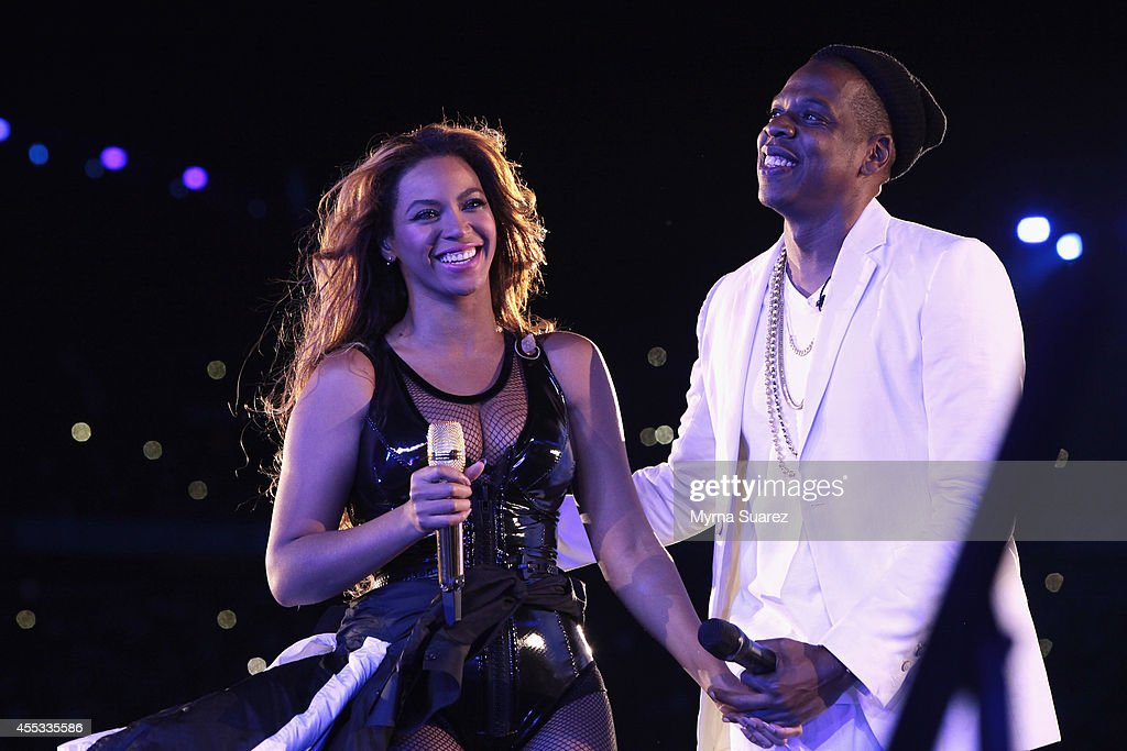 Beyonce and <a gi-track='captionPersonalityLinkClicked' href=/galleries/search?phrase=Jay-Z&family=editorial&specificpeople=201664 ng-click='$event.stopPropagation()'>Jay-Z</a> perform during the 'On The Run Tour: Beyonce And <a gi-track='captionPersonalityLinkClicked' href=/galleries/search?phrase=Jay-Z&family=editorial&specificpeople=201664 ng-click='$event.stopPropagation()'>Jay-Z</a>' at the Stade de France on September 12, 2014 in Paris, France.