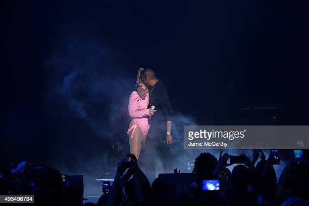Beyonce and JayZ perform onstage during TIDAL X 1020 Amplified by HTC at Barclays Center of Brooklyn on October 20 2015 in New York City