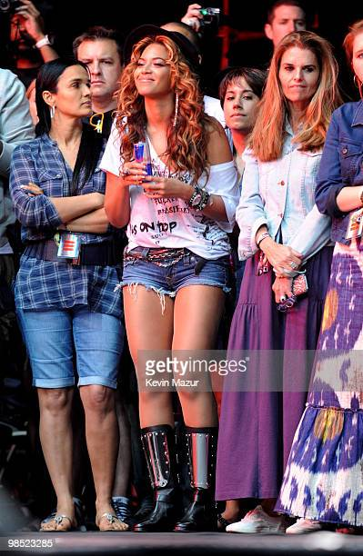 Beyonce and Maria Shriver watch JayZ perform during Day 1 of the Coachella Valley Music Arts Festival 2010 held at the Empire Polo Club on April 16...