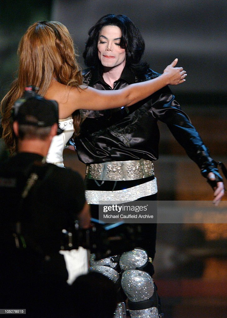 Beyonce and <a gi-track='captionPersonalityLinkClicked' href=/galleries/search?phrase=Michael+Jackson&family=editorial&specificpeople=70011 ng-click='$event.stopPropagation()'>Michael Jackson</a> during 2003 Radio Music Awards - Show at The Aladdin Hotel and Casino in Las Vegas, Nevada, United States.