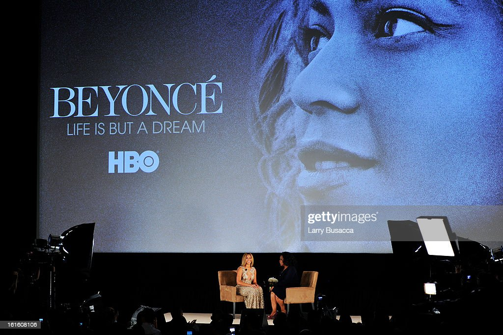 Beyonce and <a gi-track='captionPersonalityLinkClicked' href=/galleries/search?phrase=Oprah+Winfrey&family=editorial&specificpeople=171750 ng-click='$event.stopPropagation()'>Oprah Winfrey</a> speak onstage at the HBO Documentary Film 'Beyonce: Life Is But A Dream' New York Premiere at the Ziegfeld Theater on February 12, 2013 in New York City.
