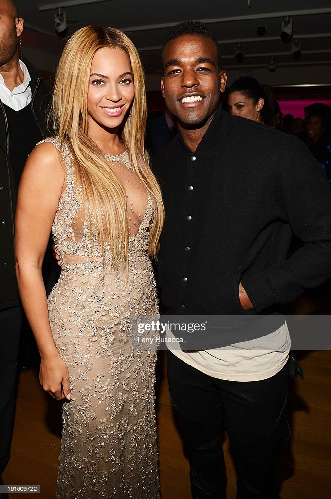 Beyonce and singer Luke James attend the after party following the premiere of the HBO Documentary Film 'Beyonce: Life Is But A Dream' at Christie's on February 12, 2013 in New York City.