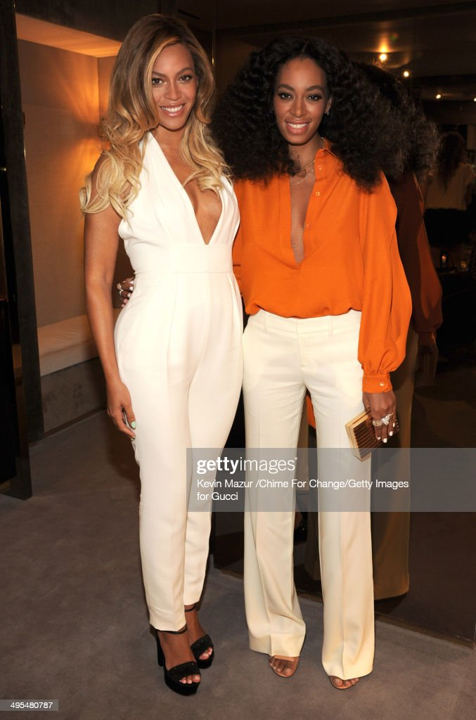 Beyonce and Solange attend the CHIME FOR CHANGE One-Year Anniversary Event hosted by Gucci Creative Director Frida Giannini and T Magazine Editor-In-Chief Deborah Needleman at Gucci Fifth Avenue on June 3, 2014 in New York City.