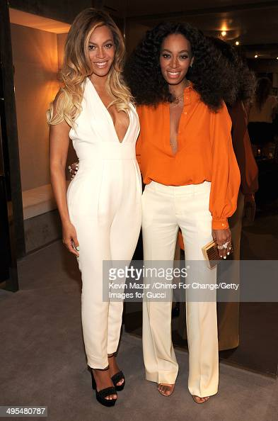 Beyonce and Solange attend the CHIME FOR CHANGE OneYear Anniversary Event hosted by Gucci Creative Director Frida Giannini and T Magazine...