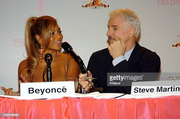 Beyonce and Steve Martin during Production Begins on the New 'Pink Panther' Press Conference at WaldorfAstoria in New York City New York United States