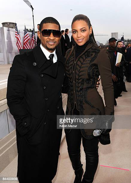 WASHINGTON JANUARY 18 *EXCLUSIVE* Beyonce and Usher backstage at ÒWe are One The Obama Inaugural Celebration At The Lincoln MemorialÓ presented...