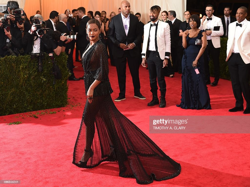 Beyonce arrives at the Costume Institute Benefit at The Metropolitan Museum of Art May 5, 2014 in New York. AFP PHOTO/Timothy A. CLARY