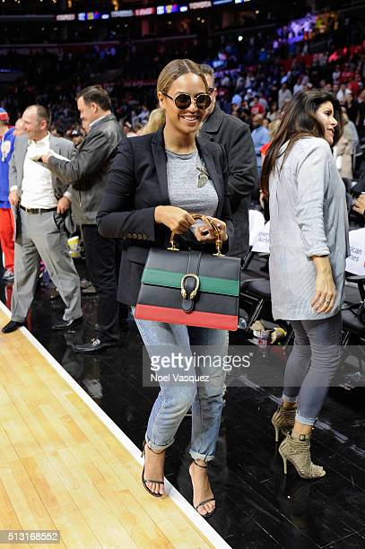 Beyonce attends a basketball game between the Brooklyn Nets and the Los Angeles Clippers at Staples Center on February 29 2016 in Los Angeles...