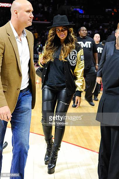 Beyonce attends a basketball game between the Cleveland Cavaliers the Los Angeles Clippers at Staples Center on January 16 2015 in Los Angeles...