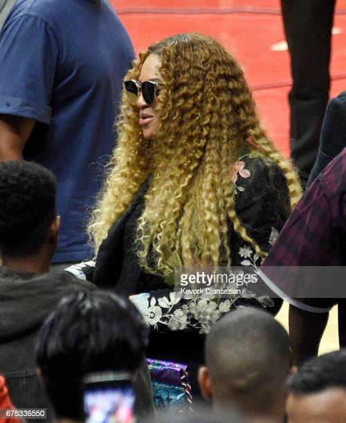 Beyonce attends Game Seven of the Western Conference Quarterfinals between the Los Angeles Clippers and the Utah Jazz at Staples Center on April 30...