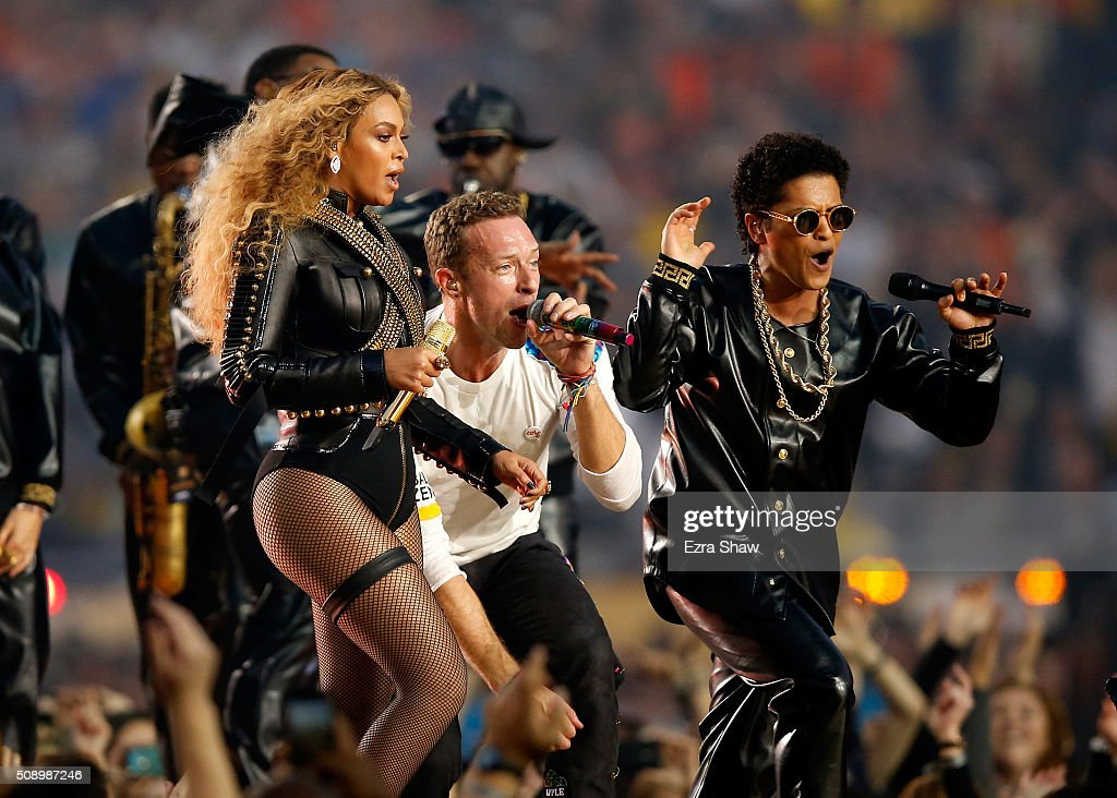 Beyonce, Chris Martin of Coldplay and Bruno Mars perform during the Pepsi Super Bowl 50 Halftime Show at Levi's Stadium on February 7, 2016 in Santa Clara, California.