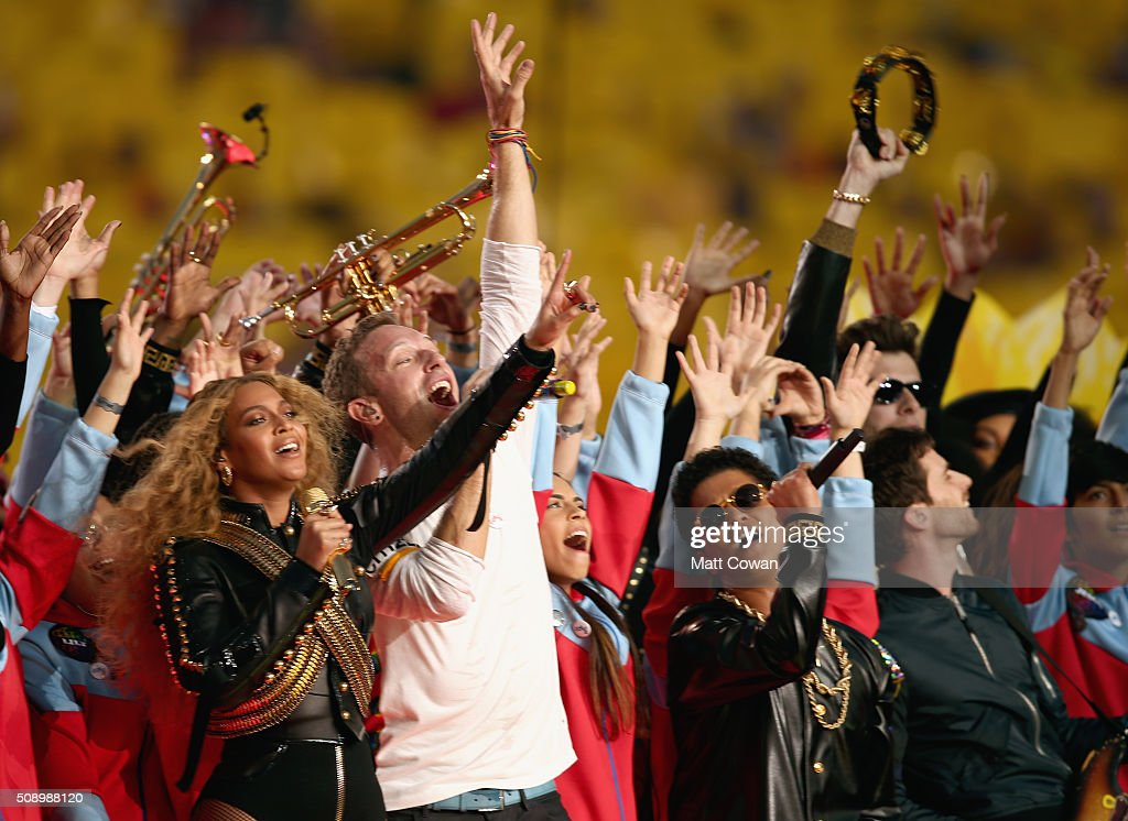 Beyonce, Chris Martin of Coldplay and Bruno Mars perform onstage during the Pepsi Super Bowl 50 Halftime Show at Levi's Stadium on February 7, 2016 in Santa Clara, California.