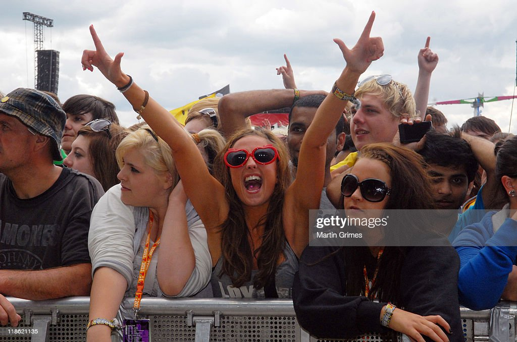 Beyonce fans press up against the main stage as they wait for her arrival at T In The Park on July 9 2011 in Kinross Scotland