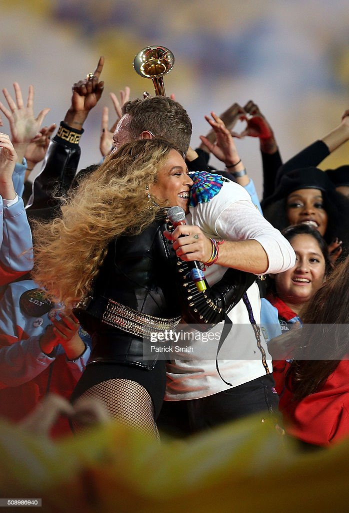 Beyonce hugs <a gi-track='captionPersonalityLinkClicked' href=/galleries/search?phrase=Chris+Martin+-+Musician&family=editorial&specificpeople=4468181 ng-click='$event.stopPropagation()'>Chris Martin</a> of Coldplay after performing during the Pepsi Super Bowl 50 Halftime Show at Levi's Stadium on February 7, 2016 in Santa Clara, California.