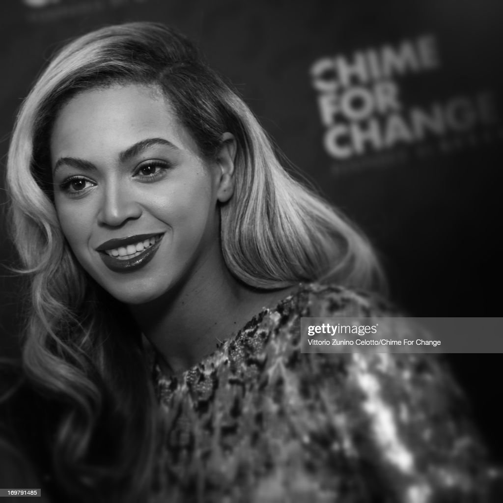 Beyonce in the media room at the 'Chime For Change: The Sound Of Change Live' Concert at Twickenham Stadium on June 1, 2013 in London, England. Chime For Change is a global campaign for girls' and women's empowerment founded by Gucci with a founding committee comprised of Gucci Creative Director Frida Giannini, Salma Hayek Pinault and <a gi-track='captionPersonalityLinkClicked' href=/galleries/search?phrase=Beyonce+Knowles&family=editorial&specificpeople=171204 ng-click='$event.stopPropagation()'>Beyonce Knowles</a>-Carter.